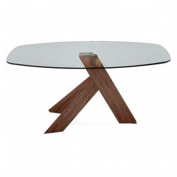 Table ovale YKOS II verre trempé transparent piètement laqué brillant blanc ou plaqué noyer